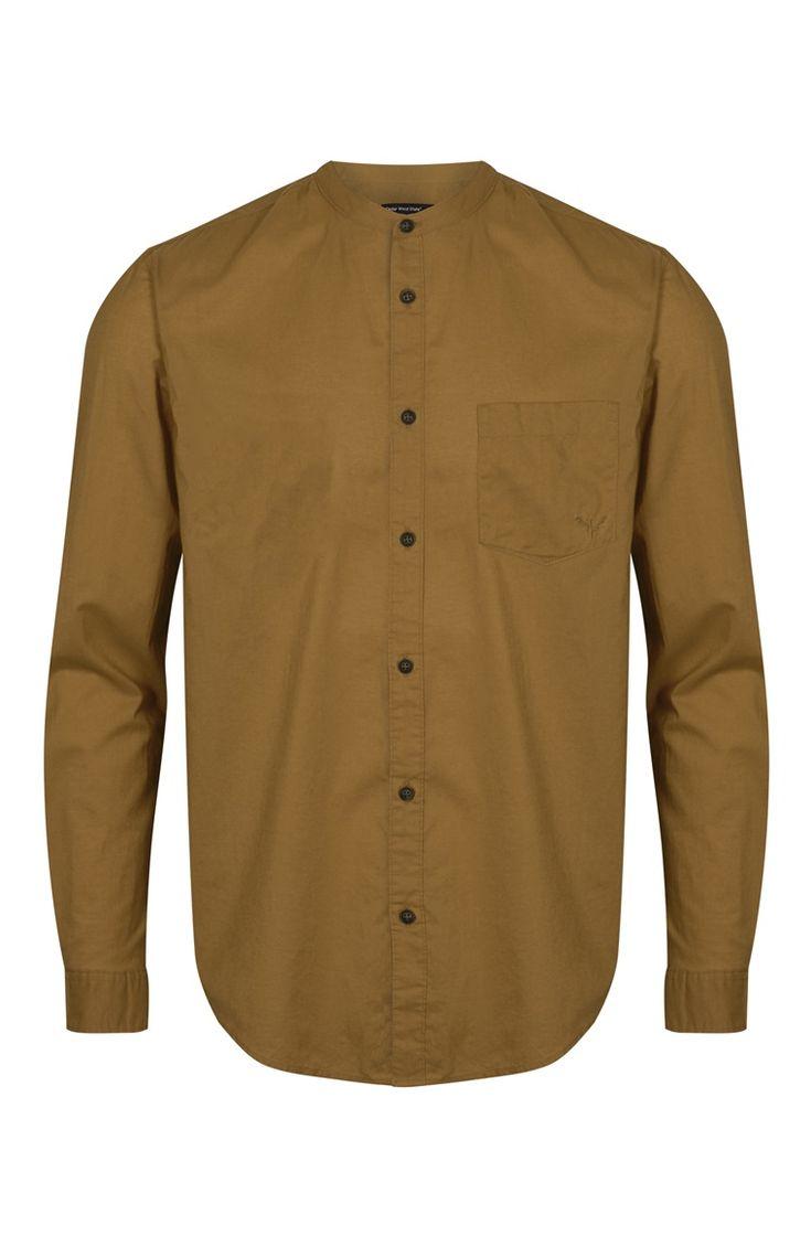 Mustard Long Sleeve Grandad Shirt