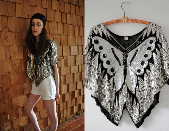 Vintage Sequined Butterfly Top / Metallic Disco Crop Top / Silk Sequined  Top / Black and Silver 1980s Shirt