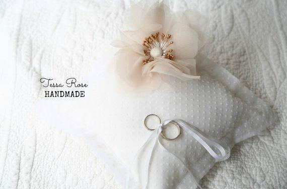 White Polka Dot Blush Pink Handmade Silk by TessaRoseHandmade