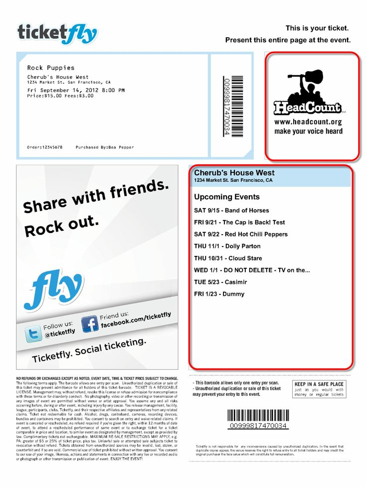 ticketfly pdf - Google Search Tickets Pinterest - concert ticket templates
