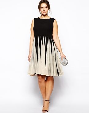 Image 4 of ASOS CURVE Fit & Flare Dress With Inserts In Mono