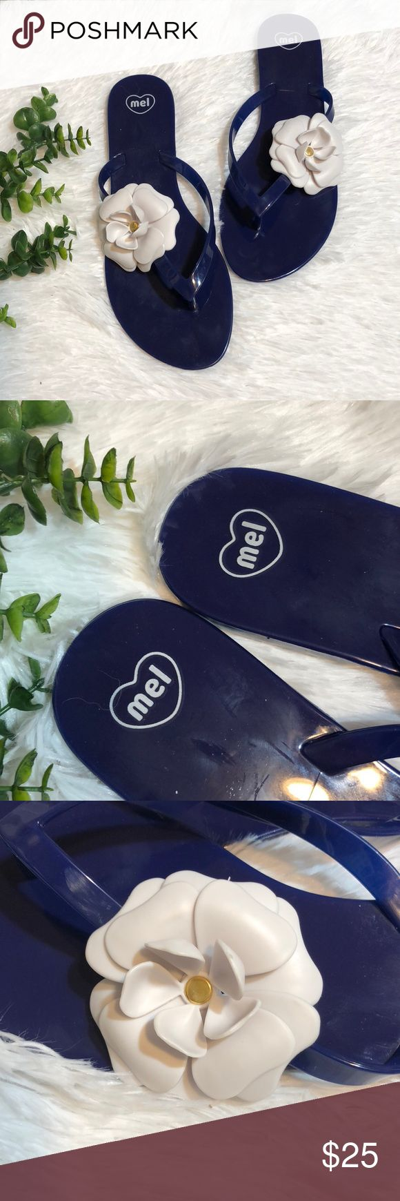 Mel- by Melissa Jelly Sandals Never worn Dark blue with White flower Jellies ~ Size 8 ~ Made in Brazil Mel by Melissa Shoes Sandals
