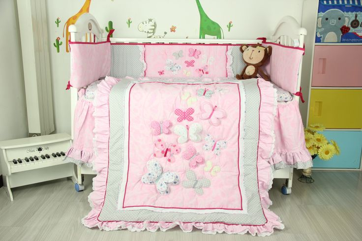 Pink Embroidered 3d Butterflys Lace Crib Bedding For