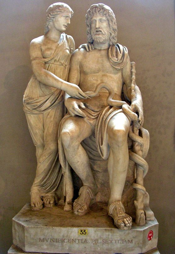 Group with Asklepius and Hygieia. Roman copy from the time of Hadrian after a Late Hellenistic original. Marble. Inv. No. 571.Rome, Vatican Museums, Pio-Clementine Museum, Gallery of statues.