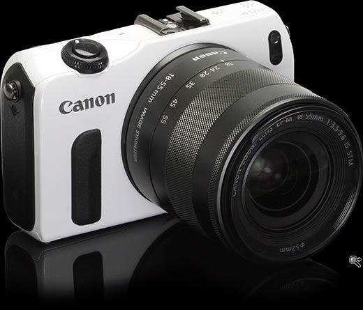 Canon EOS M: Canon rolled out its first mirrorless camera with interchangeable lenses 07/2012 - the camera plus 22mm pancake will be available from speciality photo stores only for $799 USD, with the 18-55mm zoom sold separately for 299 USD