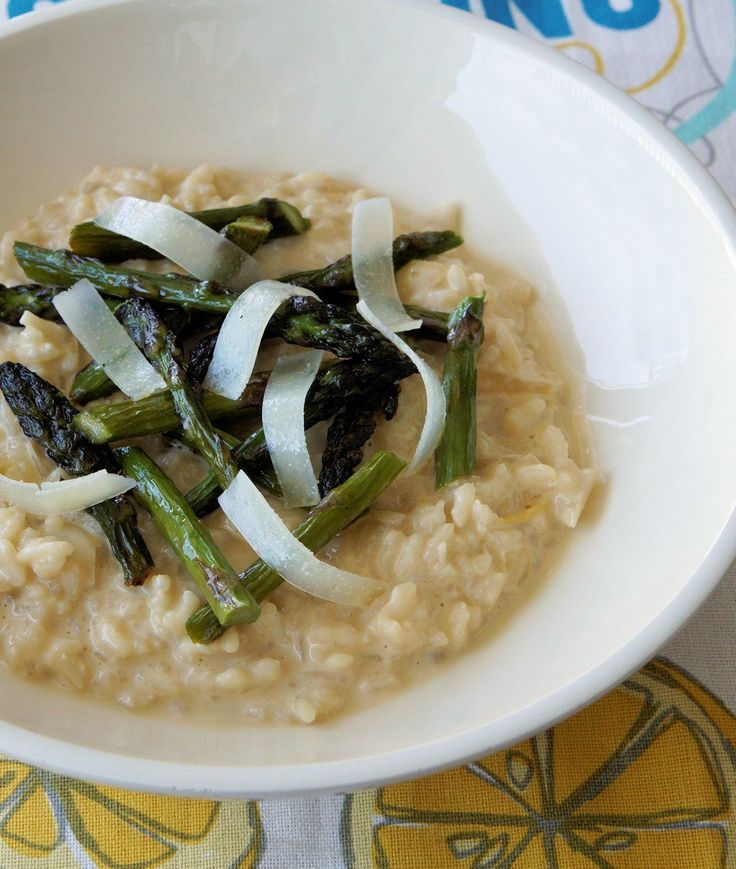 Easy to make risotto with roasted asparagus. http://www.cautiousvegetarian.ca/recipe/lemon-risotto-roasted-asparagus/
