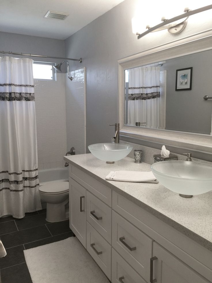 Sparking White Quartz Counters Grey Subway Floor Tile Amp Glass Vessel Sinks On White Shaker