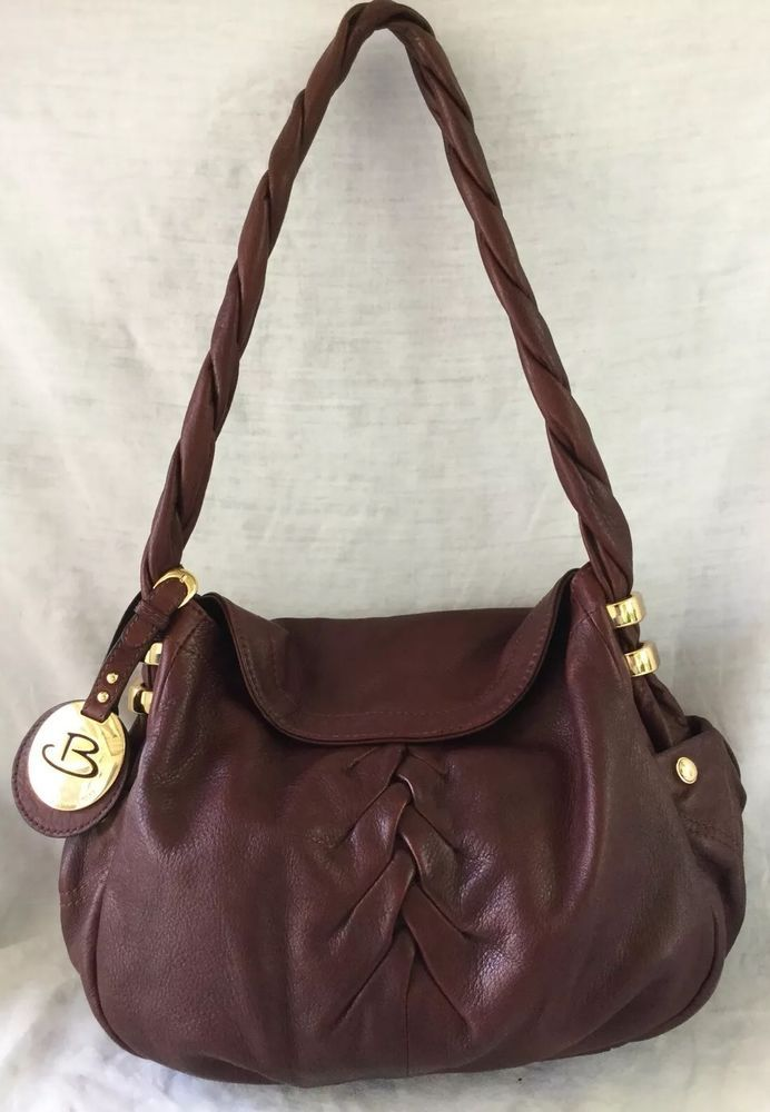 B Makowsky Braided Rich Brown Ery Soft Leather Shoulder Bag Purse Excellent In Clothing
