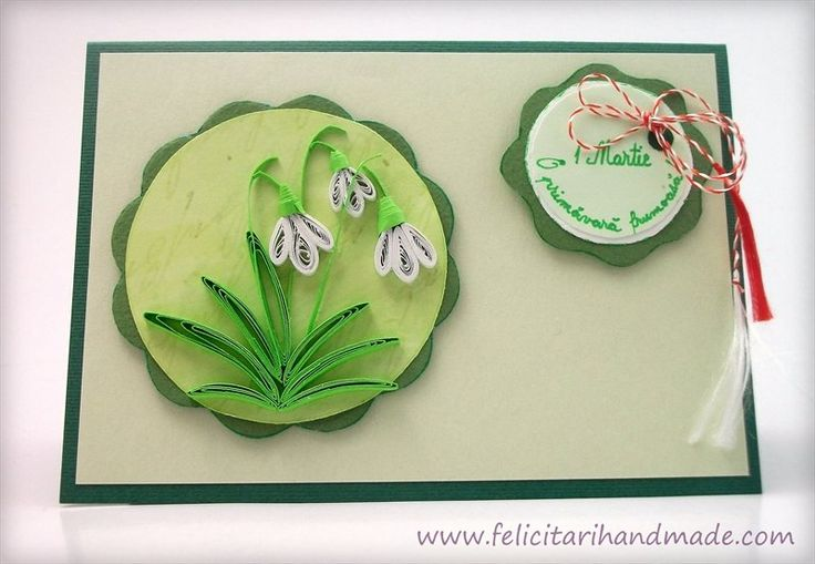 Felicitare simpla si eleganta business cu ghiocei quilling de 1 Martie / A clean business card with quilling snowdrops for March 1st (Romanian beginning of spring celebration)
