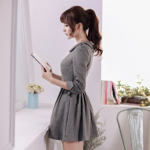 Japanese Style - woolen pleated A-line dress - AddOneClothing - 4
