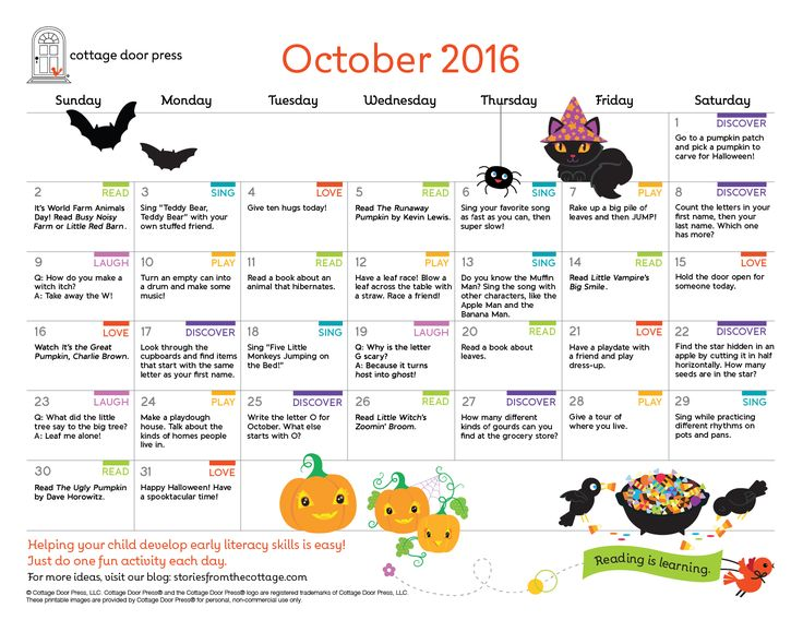 10 best Early Literacy Activity Calendars images on Pinterest - activity calendar