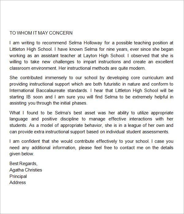 elementary school teacher recommendation letter