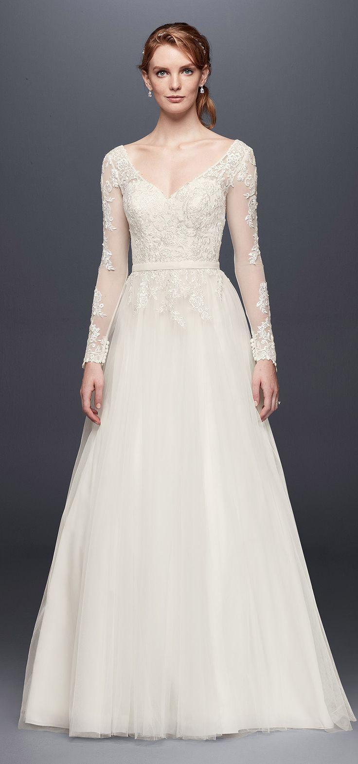 Long Sleeve Wedding Dress With Low Back | David's Bridal Spring 2017 @davidsbridal #davidsbridal #ad #wedding #weddingdress #sleeves
