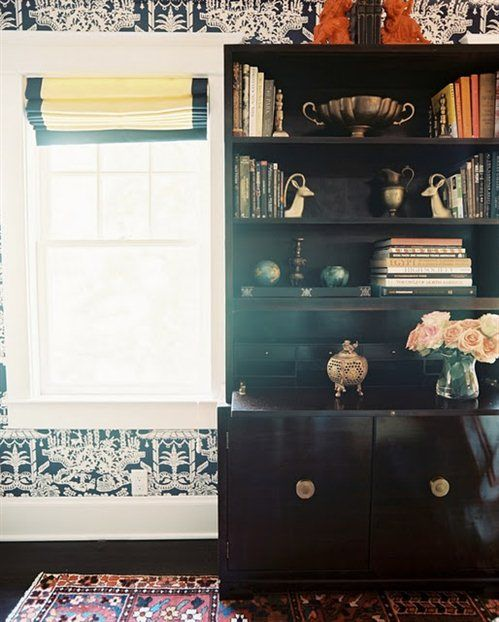 Black Cabinet with Gold Details in Crisp Asian-Inspired Room