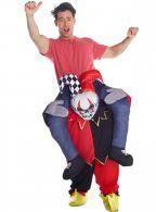 Disfraz de payaso bailarín a hombros de un Arlequín Carry Me