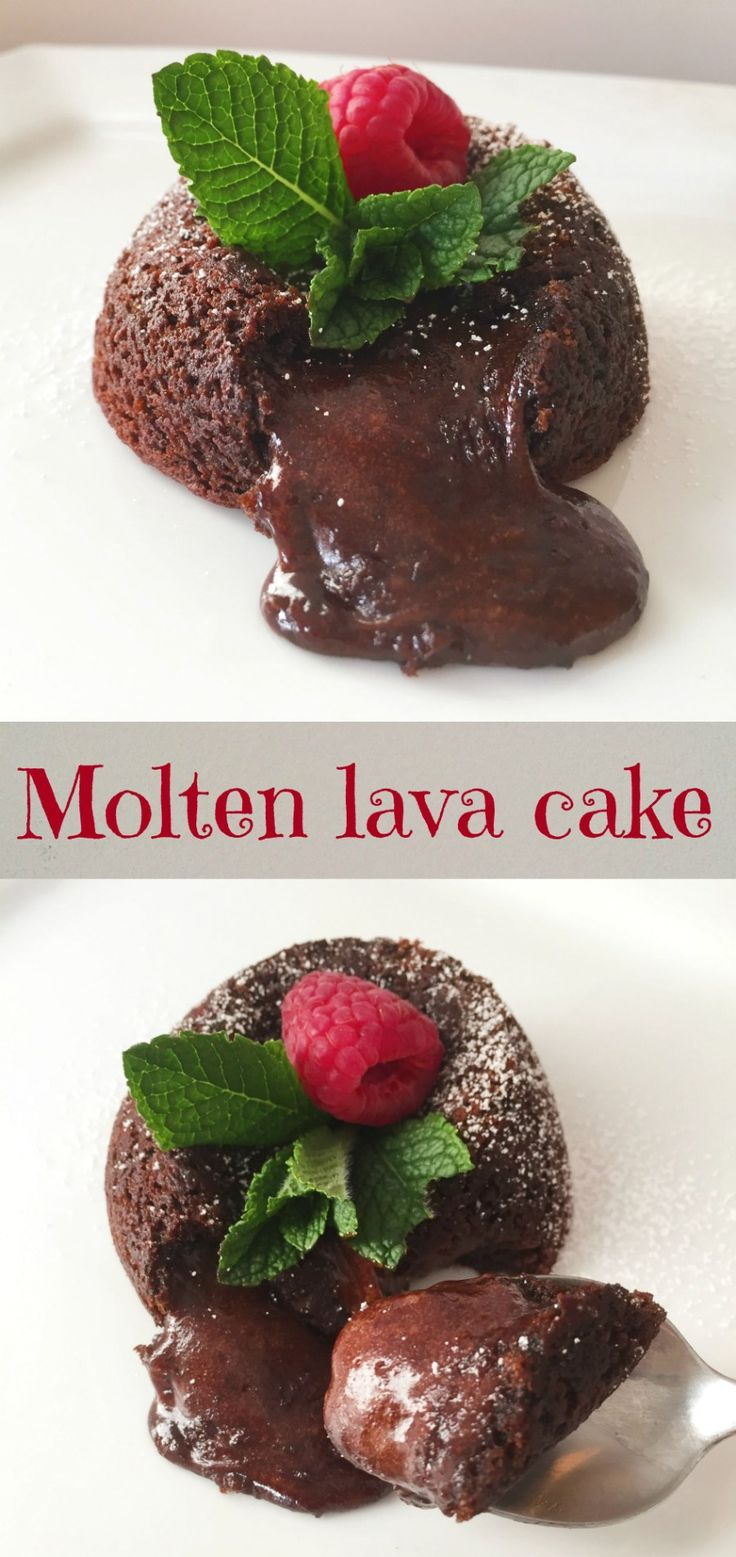 Molten lava cake, a rich and gooey chocolate cake that is so delicious. A perfect dessert for Valentine's Day.