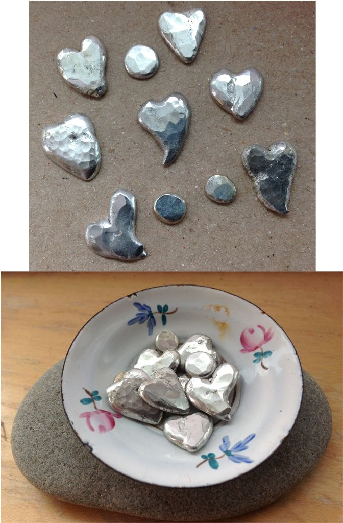 Made these following the soldered hearts tutorial here http://www.borganic.net/blog/?p=3445.  Then filed any rough edges, then hammered.