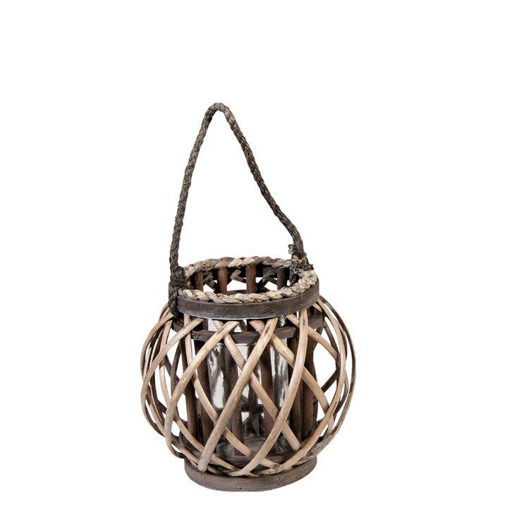 www.sconticasa.it  Portacandela a lanterna con base rotanda in rattan e bulbo di vetro  Colore Naturale