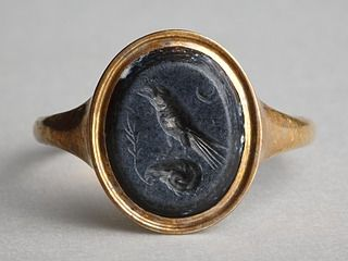 Raven, perched on a ram's head.Roman ringstone, 30 BC-200