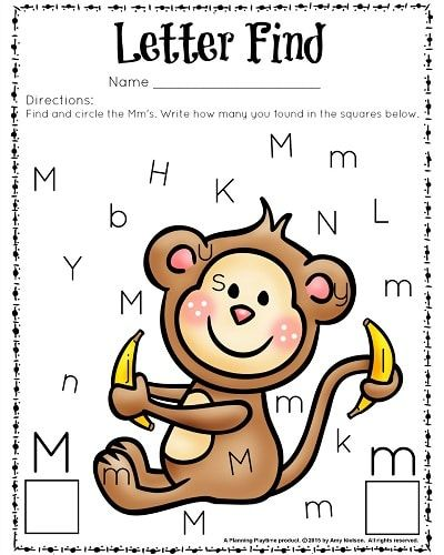 Cute letter find worksheets for preschool or kindergarten. Color or Black and white. - Letter M.