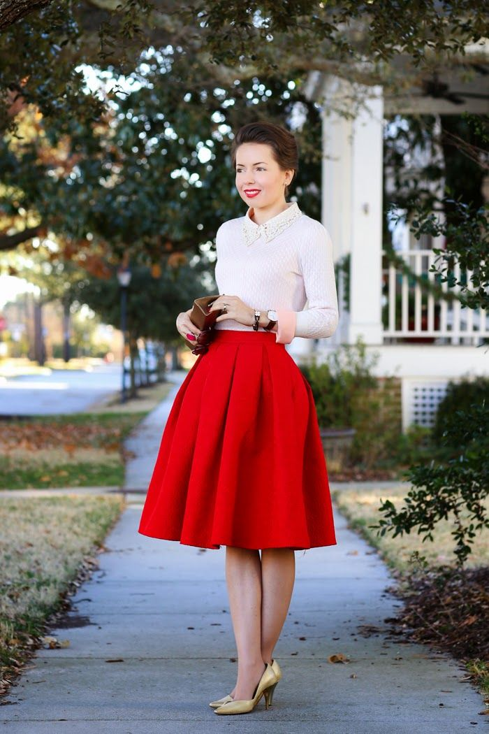 17 Best ideas about Red Pleated Skirt on Pinterest | Fashion weeks ...