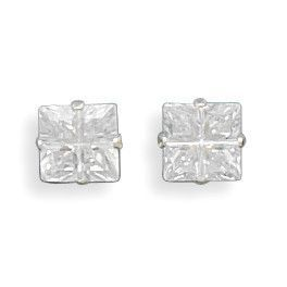 6mm 4 Cut Square CZ Earrings