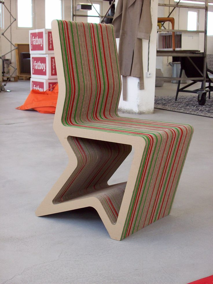 Unique Chair Furniture Design Made Of Wood That Had Stripes Of Red Color  And Green