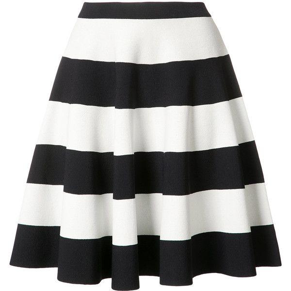 Akris Punto striped full skirt ($695) ❤ liked on Polyvore featuring skirts, blue, akris punto, blue stripe skirt, full skirt, stripe skirts and white full skirt