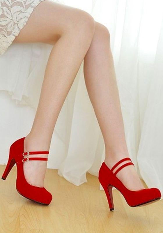 3c9e3cc4 Zapatos punta redonda de aguja doble hebilla de tacón alto rojo ...