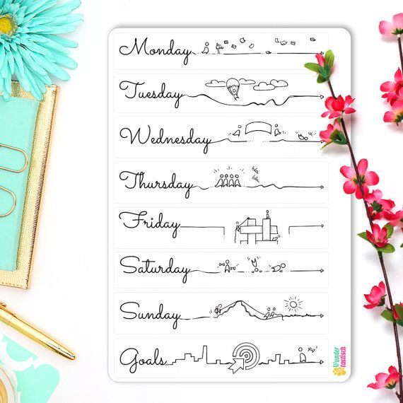 "Those adorable Daily Log Headers are great to plan out each day in advance. They are as functional as they are cute. And the little people might even give you an idea what to do on your next adventure!  Each sticker sheet is hand-drawn and afterward vectorized so it prints beautifully. They each are printed on matte white sticker paper and measure 7.25"" x 5"". The paper is perfect for coloring and all sticker sheets fit the back pocket of your A5 Leuchtturm1917 Bullet Journal like a sleeve."