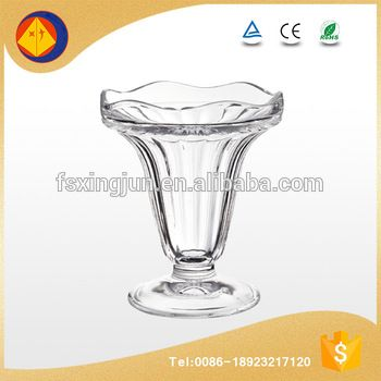 Best selling products wholesale wide mouth transparent cone glass ice cream containers