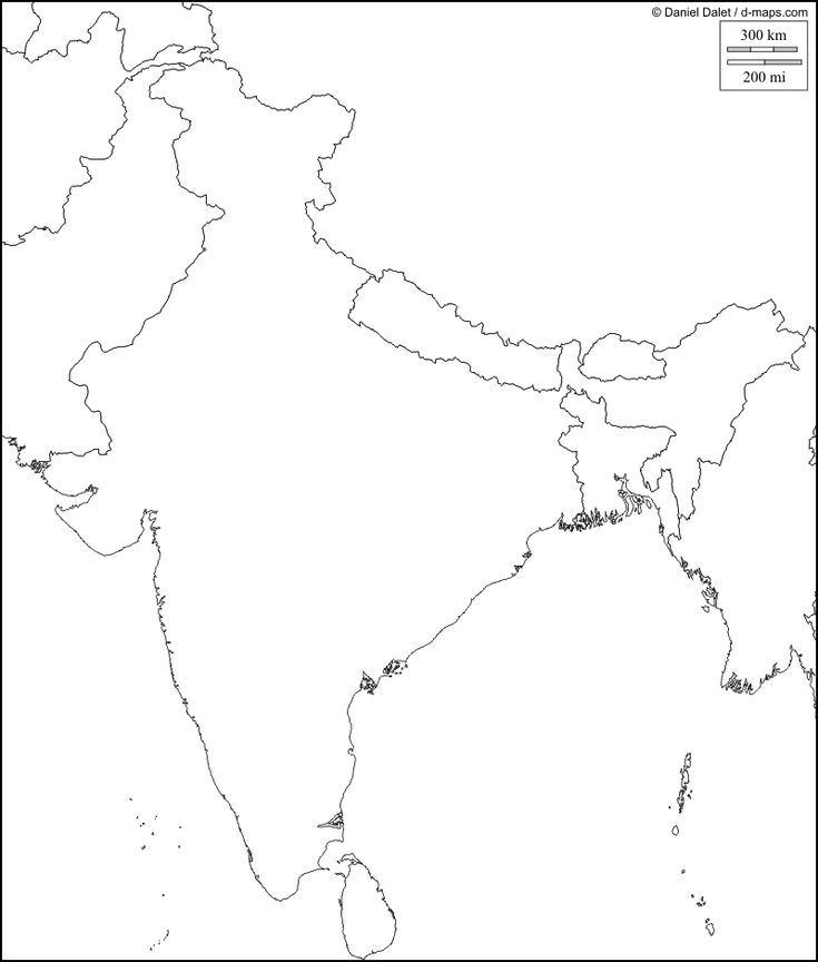 Distinct India Political Map Blank Map A4 Size Outline Map