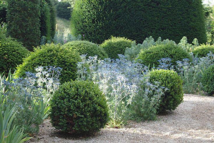 Hanham Court garden near Bristol.     Gravel & planting