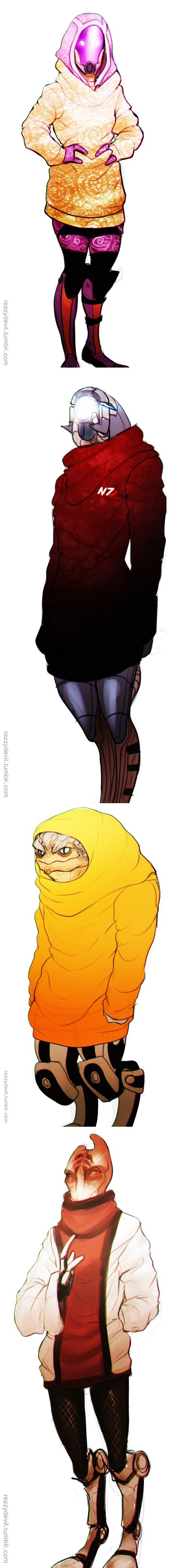 """Tali,Mordin,Legion,Grunt -- """"The collectors might have a collective consciousness and be nearly unstoppable. But we have one thing they don't--sweaters!"""""""