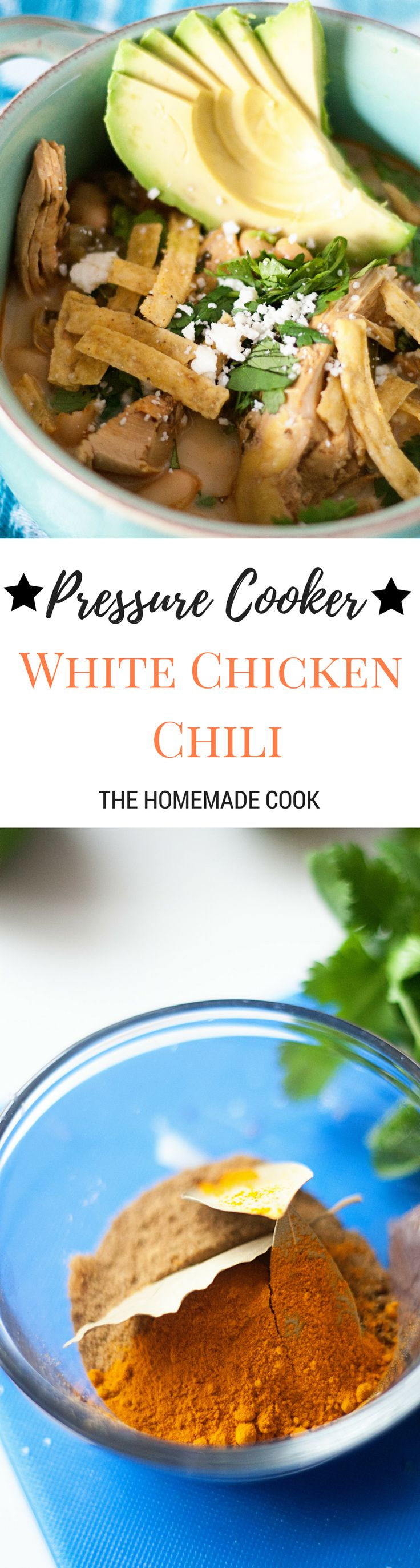 Pressure Cooker White Chicken Chili with Poblano Peppers