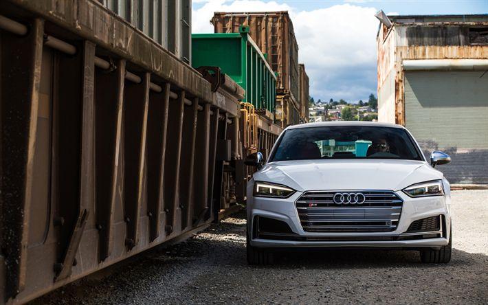 Download imagens O Audi S5 Sportback, 2018, Vista frontal, branco S5, novo A5, Carros alemães, Audi