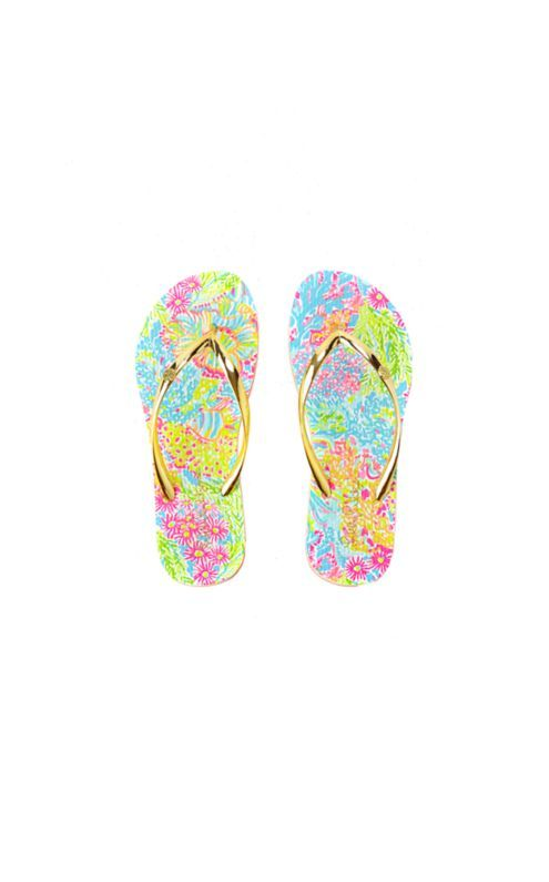 The Pool Flip-Flop is Lilly's take on what you should wear to and from the pool. These easy rubber flip flops are printed and fun for sunny days.