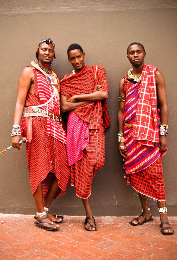 Traditional Kenyan Masai outfits seen on the streets of Cape Town, South Africa