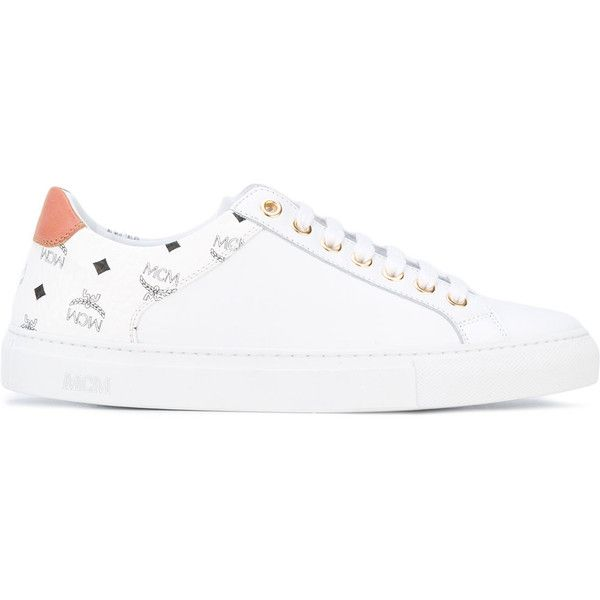 MCM monogram sneakers (2,880 CNY) ❤ liked on Polyvore featuring shoes, sneakers, white, leather footwear, genuine leather shoes, white sneakers, mcm shoes and white leather shoes
