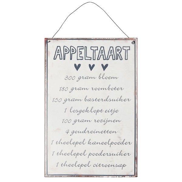 METALEN BORDEN : Appeltaart Recept metalen bord