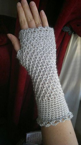 Crochet Misty Morning Mitts by Catherine Waterfield [fingerless gloves]