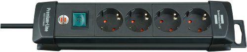 Brennenstuhl Premium-Line, Steckdosenleiste 4-fach (Steckerleiste mit Schalter und 1,8m Kabel -45� Winkel der Schutzkontakt-Steckdosen) Farbe: schwarz