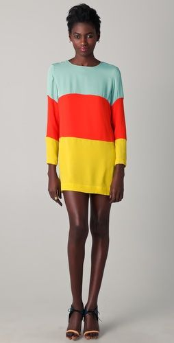 """Heidi Merrick Huntington Dress $437  This colorblock silk dress features a scoop neck and an exposed back zip. Long sleeves. Lined. 31"""" long, measured from shoulder, 100% Woven silk"""