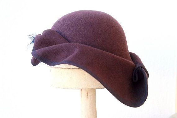 Asymmetrical Wide Brim Hat / Plum Coloured Hat by SzeretHats