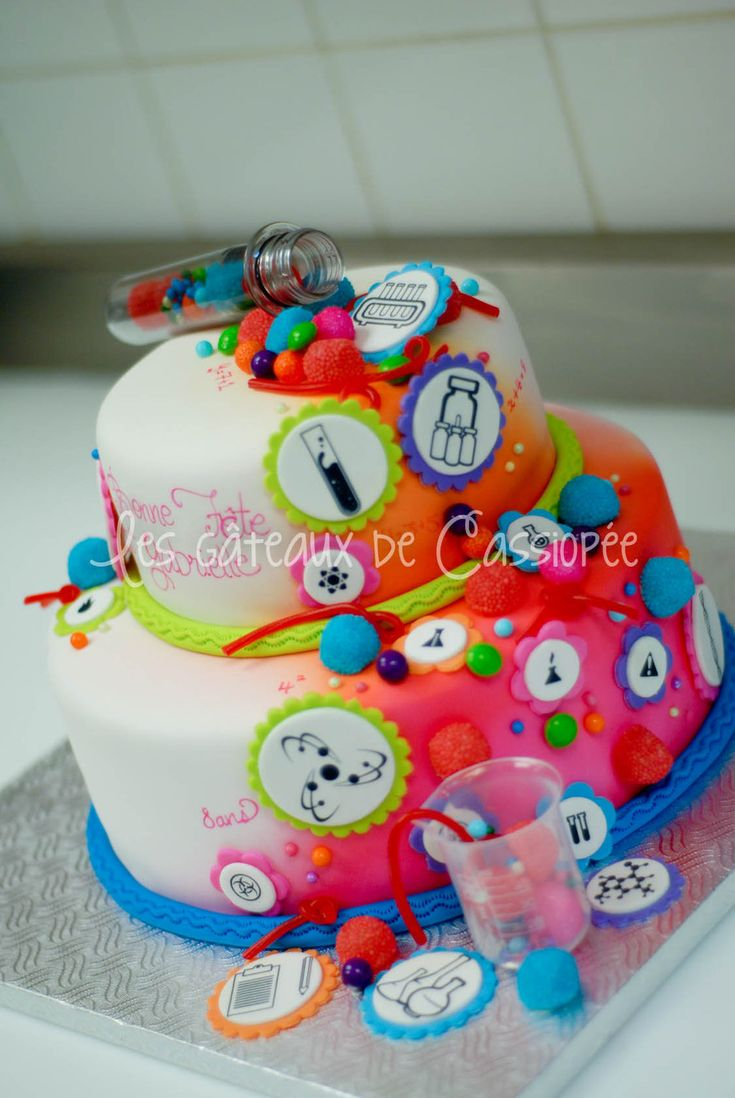 A science themed cake. For a girl. Apparently even boys want this cake. I can see why.