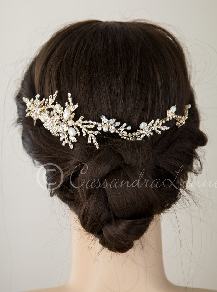 Beach Wedding Headpiece with Starfish and Coral l Rhinestones l Capped Ivory Freshwater Pearls l Silver or Gold l www.CarolinaDesigns.com