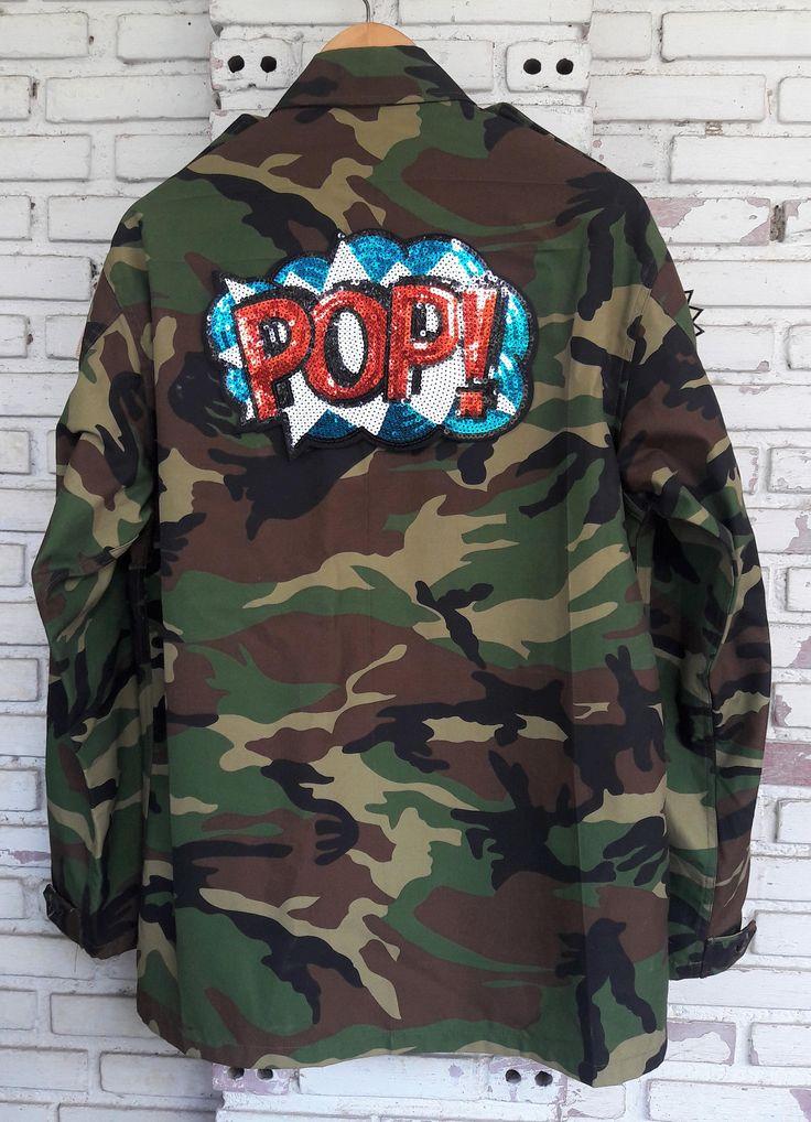 Tiger Camo Jacket / Hand Reworked Vintage Military Camo Jacket with Patches / Patched Military Camouflage Jacket Size: L by KodChaPhornJacket465 on Etsy