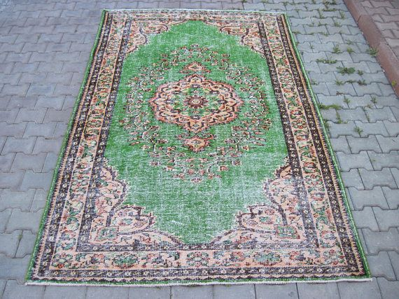 This is Handwoven Turkish Carpet Rug İt is around 55 years old Material: Wool, Cotton  Size : 5.6x 8.10 Feet 270 x170 Cm We wash it and we did all restoretion it is ready to use   Shipping: we will ship your order withen 2-3 days We will ship worl-wide with fedex or ups you will get your order in 5-7 business days  if you have any question please ask i will answer as soon as  Stock code:233  Thank you  Rug ,Carpet , Turkish rug , Vintage rug , Oushak rug , Oushak rugs , Handmade rug…