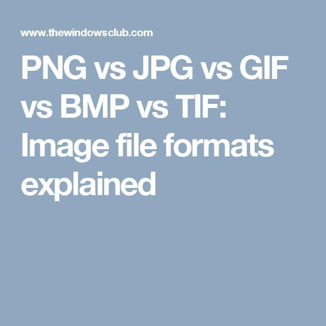 PNG vs JPG vs GIF vs BMP vs TIF: Image file formats explained
