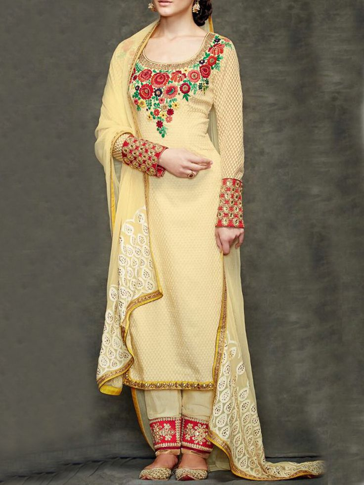 Chronicle of grace! A soothing combination of yellow & Red Floral Embroidary creates a perfect harmony on this Banarasi Jacquard salwar kameez dupatta set - See more at: http://www.akalors.in/Salwar-Kameez/Classic-Pale-Yellow-Faux-Gerogette-Suit-id-1889043.html#sthash.QbFVOycn.dpuf